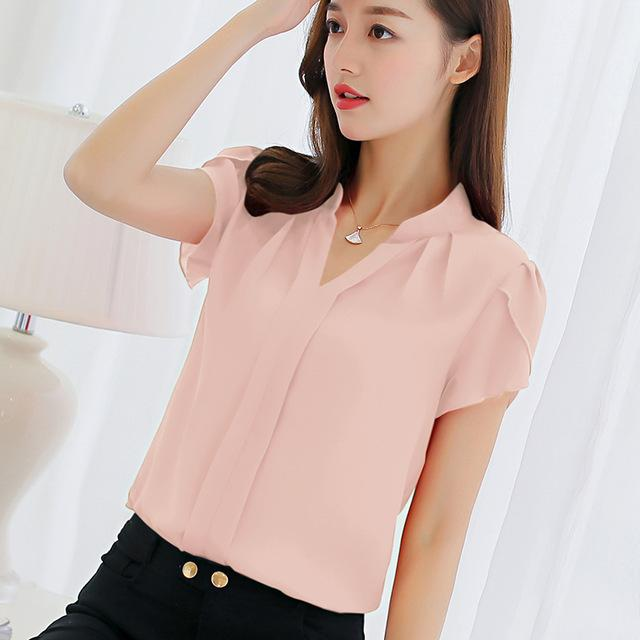 Women Chiffon Short Sleeved Shirt Top In Solid Colors-Pink-L-JadeMoghul Inc.