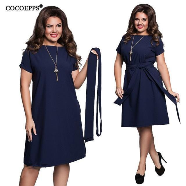 Women Chiffon Short Sleeves Summer Dress With Matching Sash Belt-1-XXL-Russian Federation-JadeMoghul Inc.