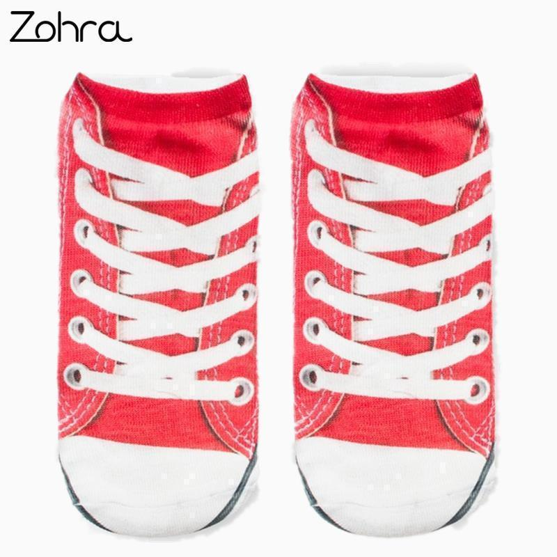 Women Clothing Zohra Canvas shoes Graphic 3D Full Print Unisex Low Cut Ankle Socks Multiple Colors Cotton Sock Casual Hosiery AExp