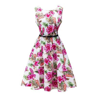 Women Cotton Floral Print Vintage Dress With Belt-11-S-JadeMoghul Inc.