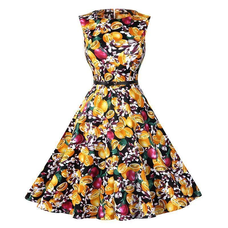 Women Cotton Floral Print Vintage Dress With Belt-13-S-JadeMoghul Inc.