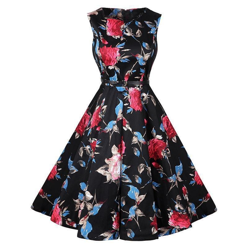 Women Cotton Floral Print Vintage Dress With Belt-14-S-JadeMoghul Inc.