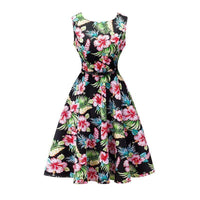 Women Cotton Floral Print Vintage Dress With Belt-2-S-JadeMoghul Inc.