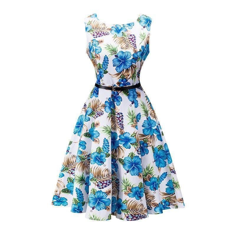 Women Cotton Floral Print Vintage Dress With Belt-5-S-JadeMoghul Inc.