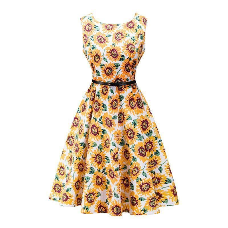 Women Cotton Floral Print Vintage Dress With Belt-8-S-JadeMoghul Inc.
