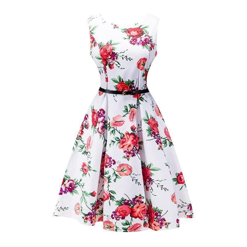 Women Cotton Floral Print Vintage Dress With Belt-9-S-JadeMoghul Inc.