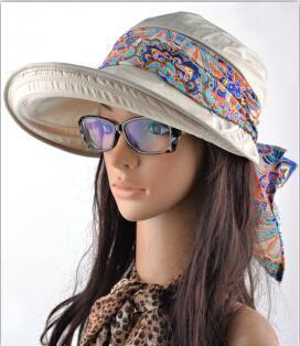 Women Cotton Visor Hat With Printed Silk Scarf Ribbon-Beige-China-JadeMoghul Inc.