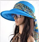 Women Cotton Visor Hat With Printed Silk Scarf Ribbon-Blue-China-JadeMoghul Inc.