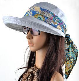 Women Cotton Visor Hat With Printed Silk Scarf Ribbon-gray-China-JadeMoghul Inc.