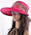 Women Cotton Visor Hat With Printed Silk Scarf Ribbon-Red-China-JadeMoghul Inc.