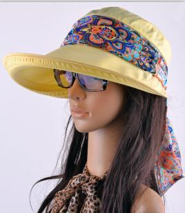 Women Cotton Visor Hat With Printed Silk Scarf Ribbon-Yellow-China-JadeMoghul Inc.