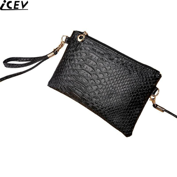 Women Crocodile Embossed Patent Leather Convertible Wristlet / Cross Body Bag-Black-JadeMoghul Inc.