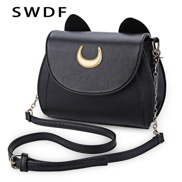 Women Cute Cat detailed Patent Leather Cross Body Bag-black-Brand Bag-JadeMoghul Inc.