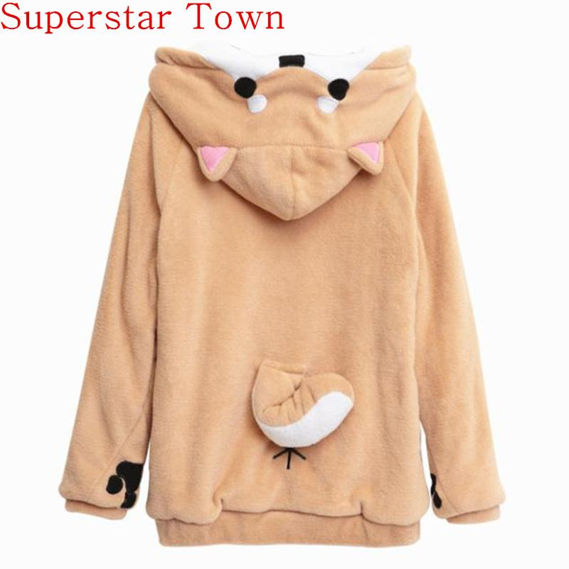 Women Cute Fox Plush Hoodie With Ears and Tail detailing-JadeMoghul Inc.