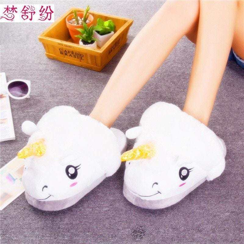 Women Cute Plush Unicorn Indoor House Slippers-picture color-One Size-JadeMoghul Inc.