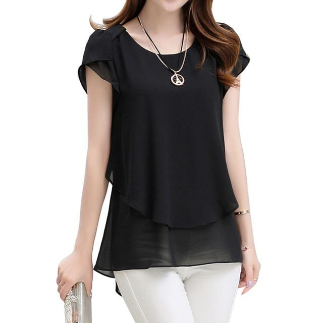 Women Double layered Chiffon Shirt Top-Black-XXXL-JadeMoghul Inc.