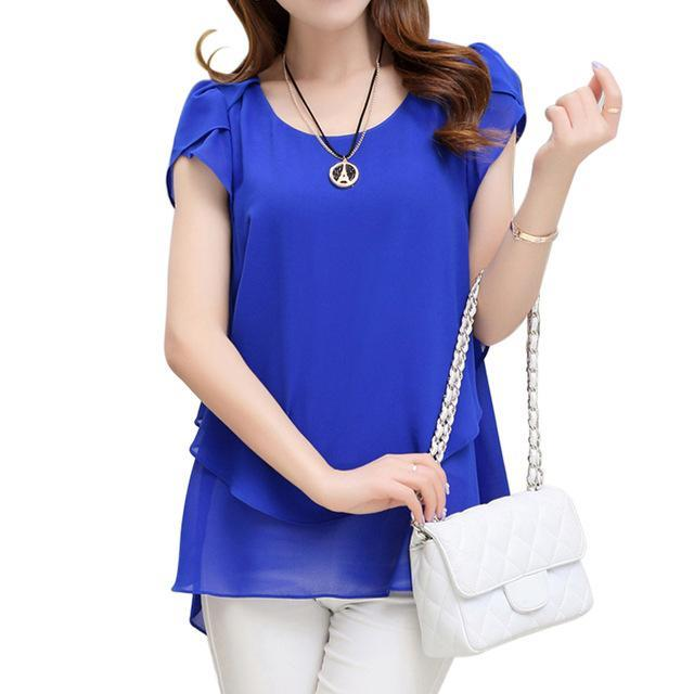 Women Double layered Chiffon Shirt Top-Blue-XXXL-JadeMoghul Inc.