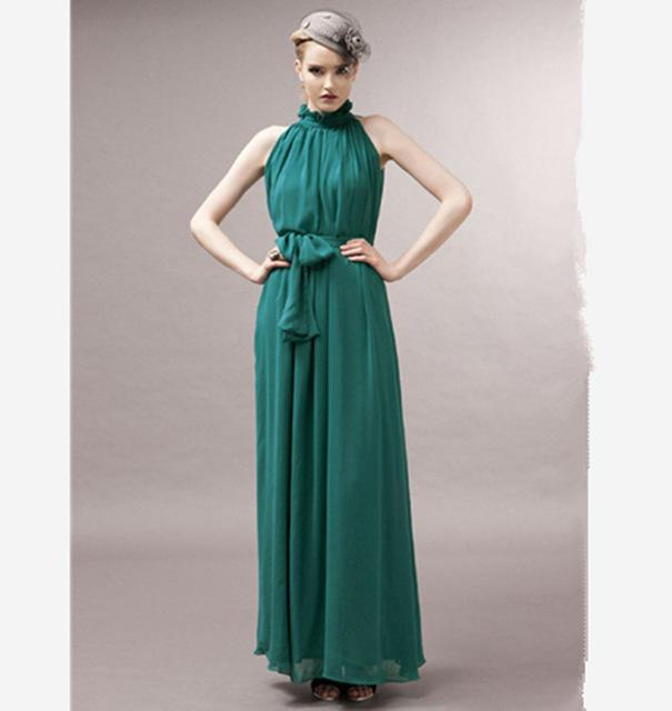 Women dress Elegant Bohemian Maxi Dress - Chiffon Halter Long Dress AExp