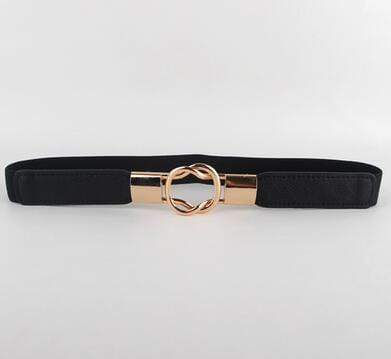 Women Elastic Waistband Belt With Buckle Clasp Closure-black color-95cm-JadeMoghul Inc.
