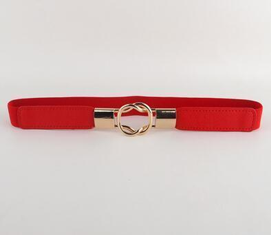 Women Elastic Waistband Belt With Buckle Clasp Closure-red color-95cm-JadeMoghul Inc.