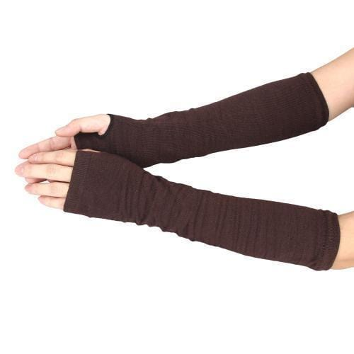 Women Elbow Length Finger Less Gloves-Coffee-JadeMoghul Inc.