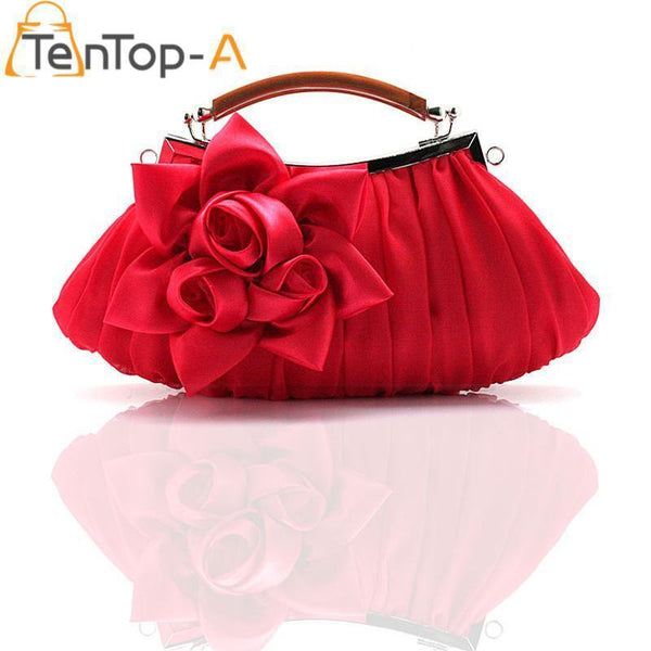 Women Elegant Silk Flower Evening Clutch-Black-(20cm<Max Length<30cm)-JadeMoghul Inc.