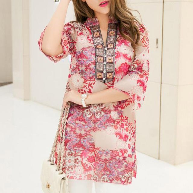 Women Embroidered Flared Sleeved Chiffon Tunic Top-Red-4XL-JadeMoghul Inc.