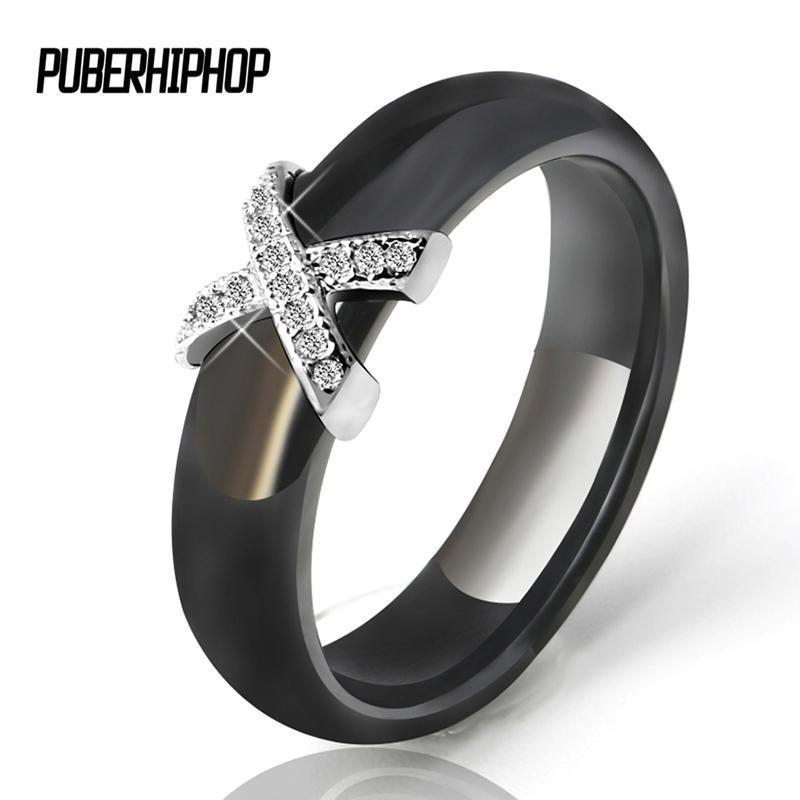 Women Fashion AAA Crystal X Cross Ceramic Ring-10-Black-JadeMoghul Inc.