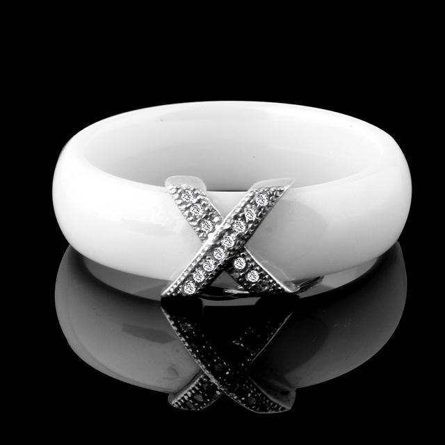 Women Fashion AAA Crystal X Cross Ceramic Ring-10-White-JadeMoghul Inc.