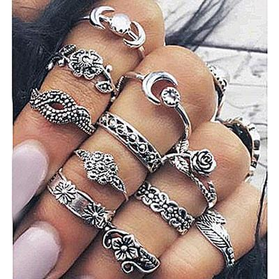 Women Fashion Boho Chic Moon Flowers Rose Antique Silver Plated Midi Rings-R250-JadeMoghul Inc.