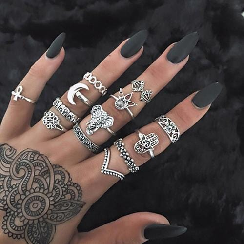 Women Fashion Boho Chic Moon Flowers Rose Antique Silver Plated Midi Rings-R252-JadeMoghul Inc.