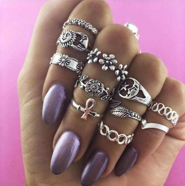Women Fashion Boho Chic Moon Flowers Rose Antique Silver Plated Midi Rings-R253-JadeMoghul Inc.