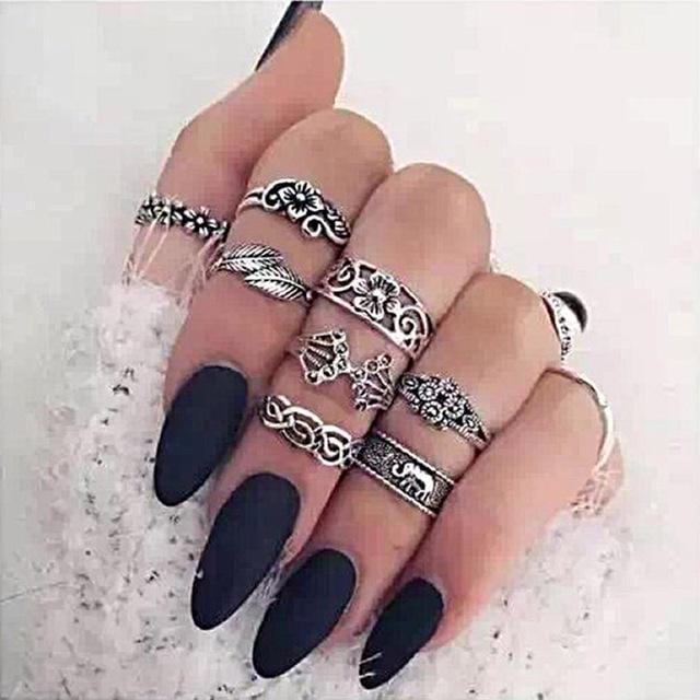 Women Fashion Boho Chic Moon Flowers Rose Antique Silver Plated Midi Rings-R254-JadeMoghul Inc.