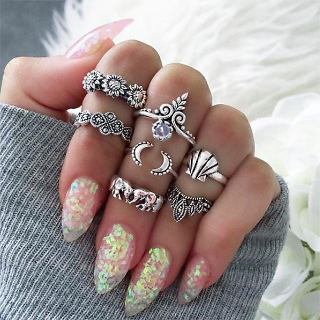 Women Fashion Boho Chic Moon Flowers Rose Antique Silver Plated Midi Rings-R255-JadeMoghul Inc.
