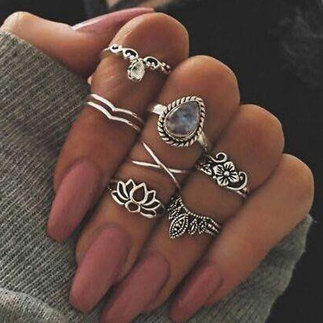 Women Fashion Boho Chic Moon Flowers Rose Antique Silver Plated Midi Rings-R256-JadeMoghul Inc.