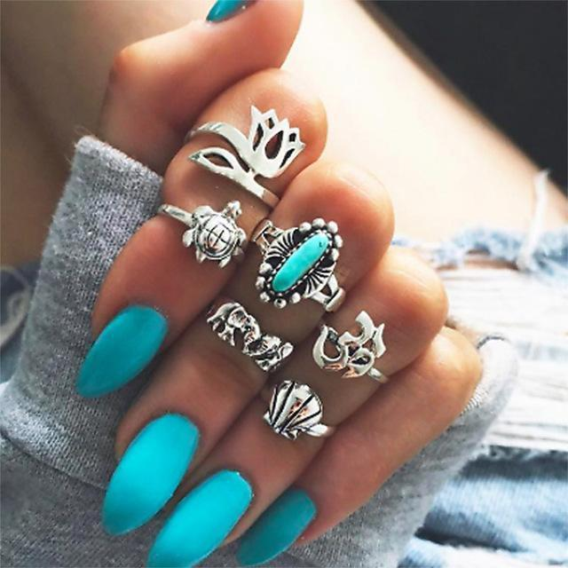 Women Fashion Boho Chic Moon Flowers Rose Antique Silver Plated Midi Rings-R257-JadeMoghul Inc.