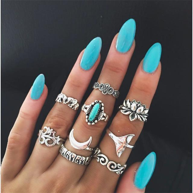 Women Fashion Boho Chic Moon Flowers Rose Antique Silver Plated Midi Rings-R258-JadeMoghul Inc.