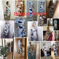 Women Fashion Print Elegant Cute Slim Dress-blue-S-JadeMoghul Inc.
