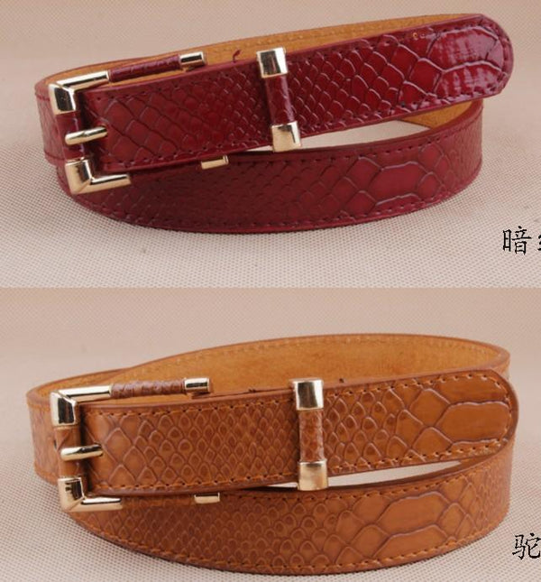 Women Faux Crocodile Leather Belt With Alloy Pin Buckle-dark red color-JadeMoghul Inc.