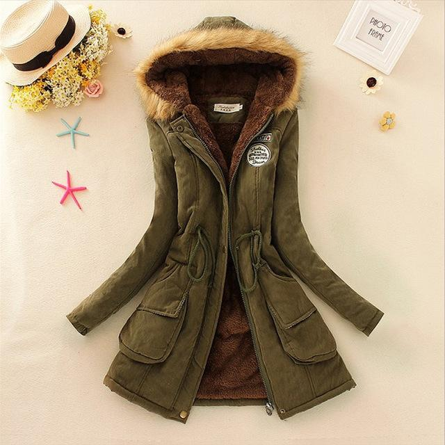 Women Faux Fur Collar Hooded Jacket-Army Green-XXL-JadeMoghul Inc.