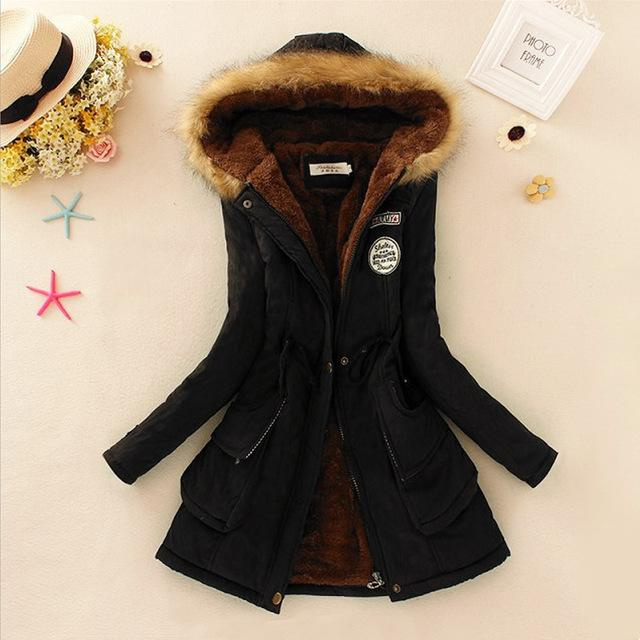 Women Faux Fur Collar Hooded Jacket-Black-XXL-JadeMoghul Inc.