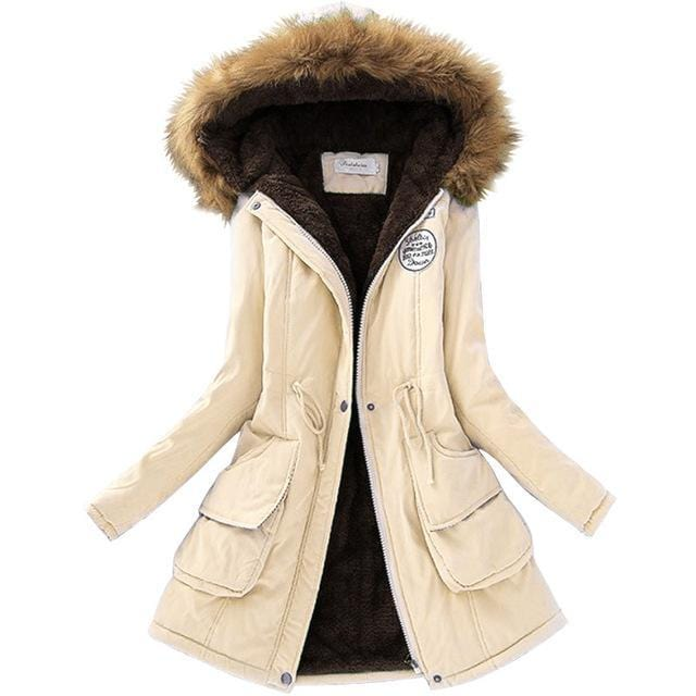Women Faux Fur Collar Hooded Jacket-Cream-XXL-JadeMoghul Inc.