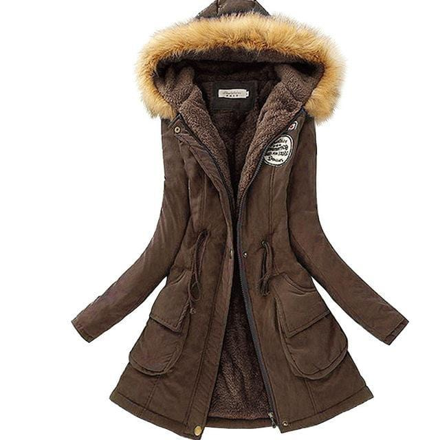 Women Faux Fur Collar Hooded Jacket-Dark Brown-XXL-JadeMoghul Inc.
