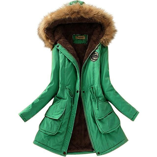 Women Faux Fur Collar Hooded Jacket-Grass Green-XXL-JadeMoghul Inc.