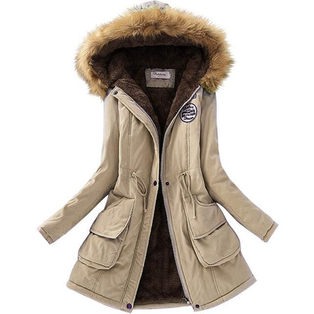 Women Faux Fur Collar Hooded Jacket-Khaki-XXL-JadeMoghul Inc.