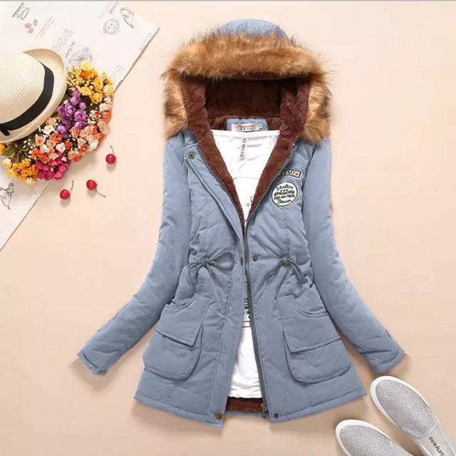 Women Faux Fur Collar Hooded Jacket-Light Blue-XXL-JadeMoghul Inc.