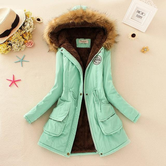 Women Faux Fur Collar Hooded Jacket-Light Green-XXL-JadeMoghul Inc.