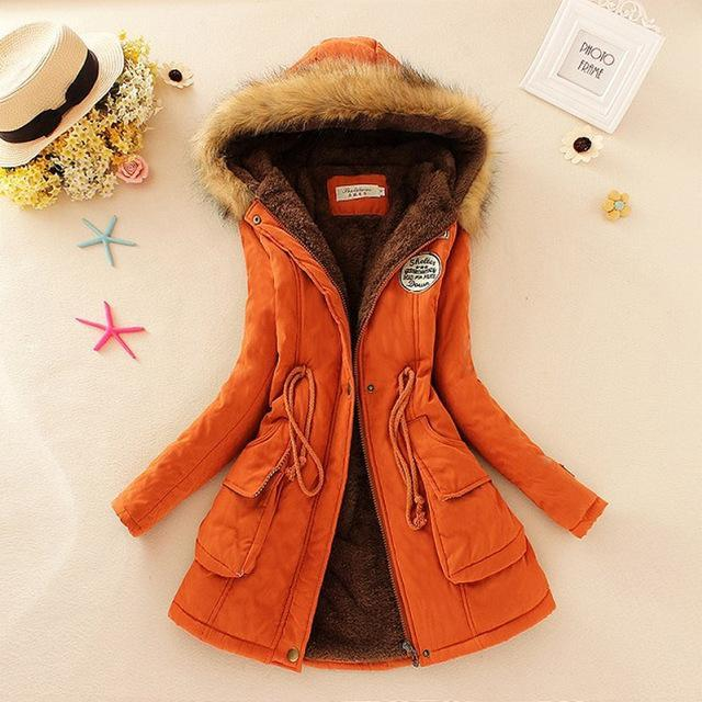 Women Faux Fur Collar Hooded Jacket-Orange-XXL-JadeMoghul Inc.