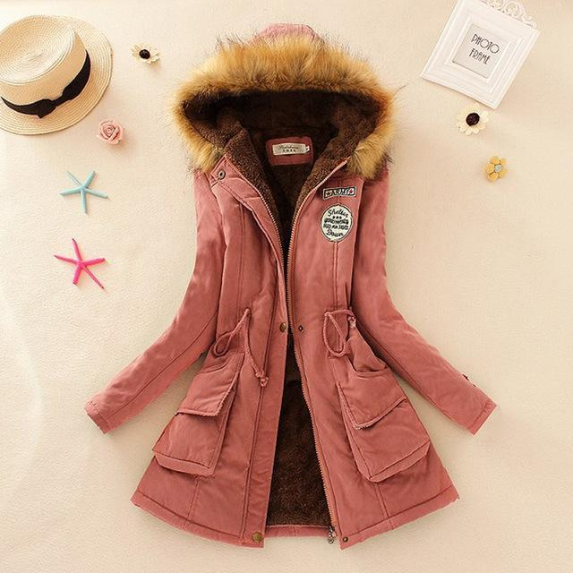 Women Faux Fur Collar Hooded Jacket-Pink-XXL-JadeMoghul Inc.