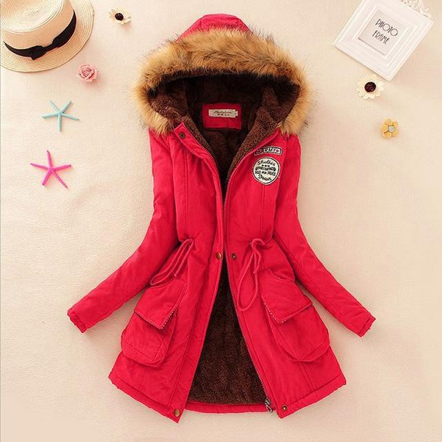 Women Faux Fur Collar Hooded Jacket-Red-XXL-JadeMoghul Inc.